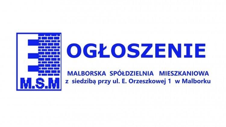 Malborska Spółdzielnia Mieszkaniowa ogłasza przetargi.