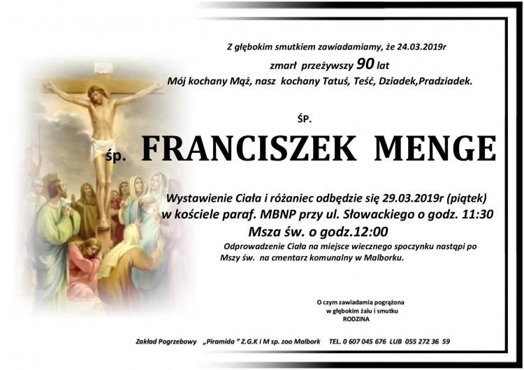 Zmarł Franciszek Menge. Żył 90 lat.