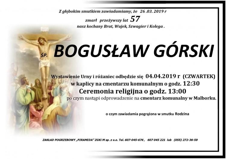 Zmarł Bogusław Górski. Żył 57 lat