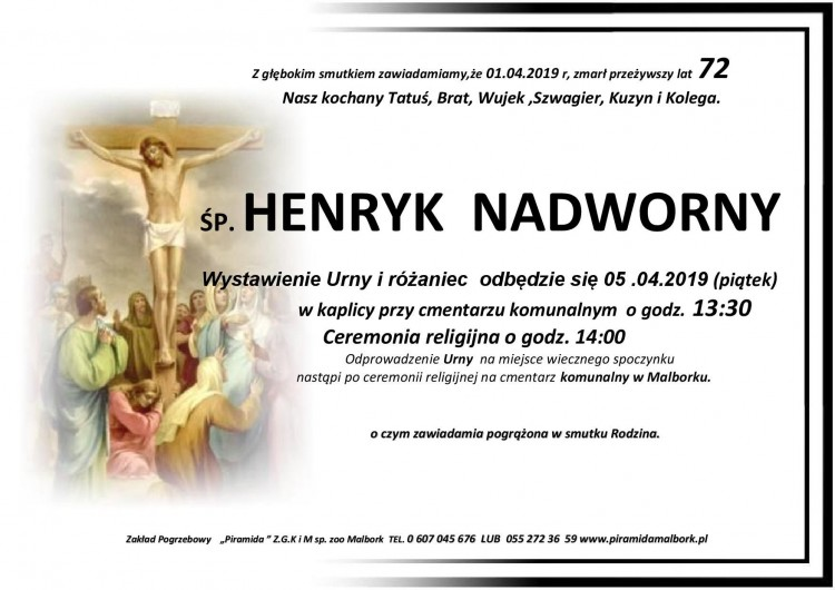 Zmarł Henryk Nadworny. Żył 72 lata.