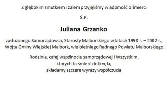 Zarząd, Radni oraz Pracownicy Starostwa Powiatowego w Malborku składają kondolencje.