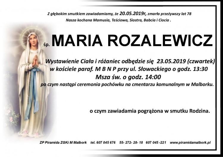 Zmarła Maria Rozalewicz. Żyła 78 lat.