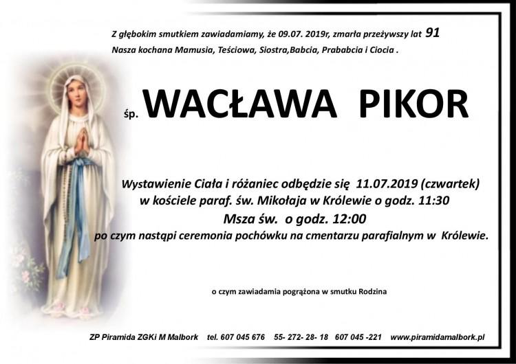 Zmarła Wacława Pikor. Żyła 91 lat.
