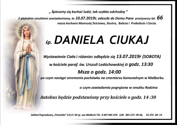 Zmarła Daniela Ciukaj. Żyła 66 lat.