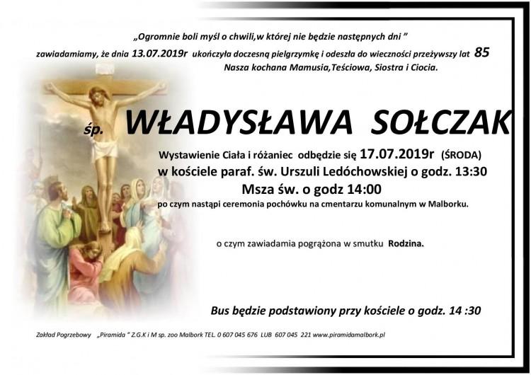Zmarła Władysława Sołczak. Żyła 85 lat.