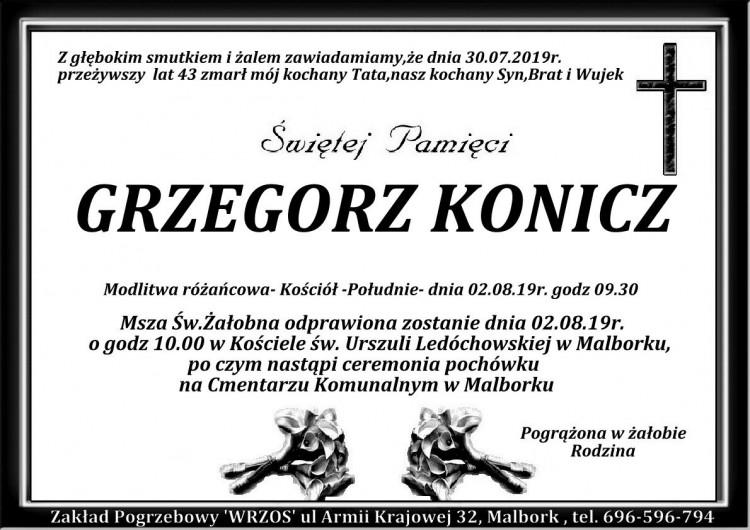 Zmarł Grzegorz Konicz. Żył 43 lata