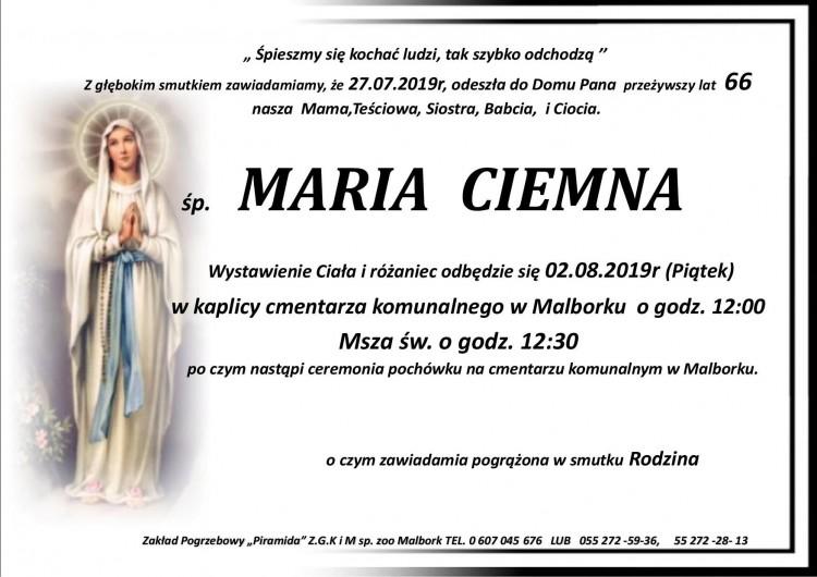 Zmarła Maria Ciemna. Żyła 66 lat