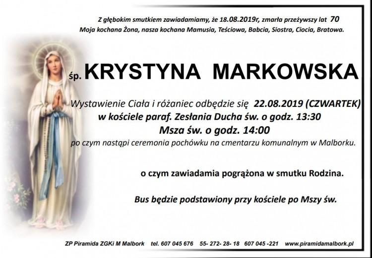 Zmarła Krystyna Markowska. Żyła 70 lat.
