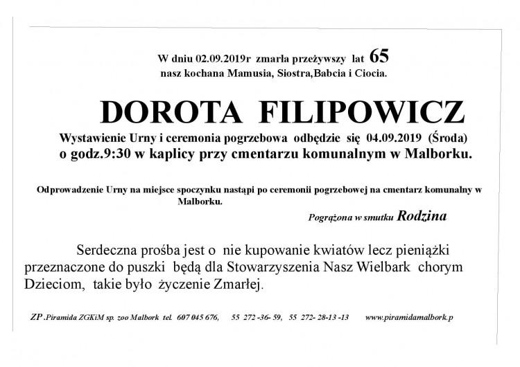 Zmarła Dorota Filipowicz. Żyła 65 lat.