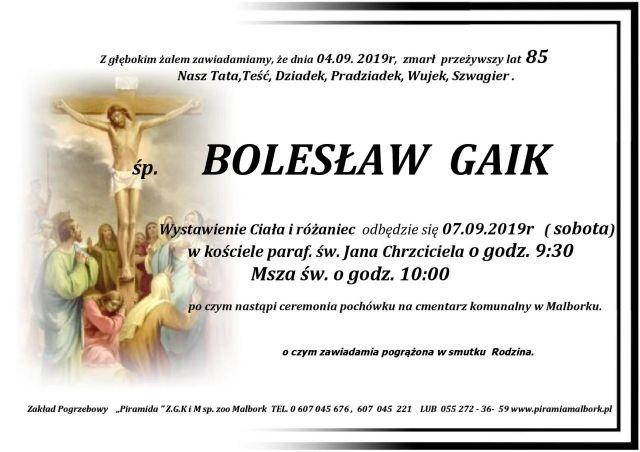 Zmarł Bolesław Gaik. Żył 85 lat