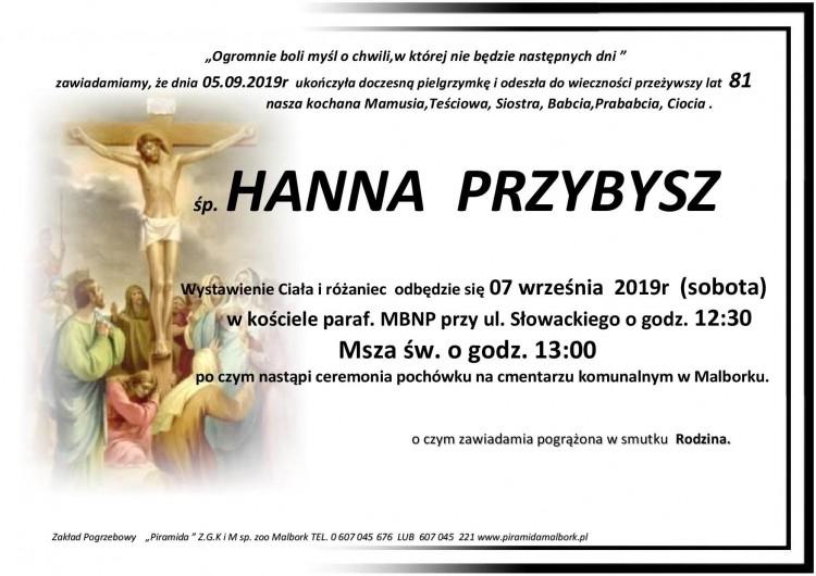Zmarła Hanna Przybysz. Żyła 81 lat.
