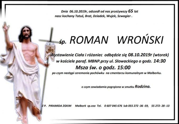 Zmarł Roman Wroński. Żył 65 lat.