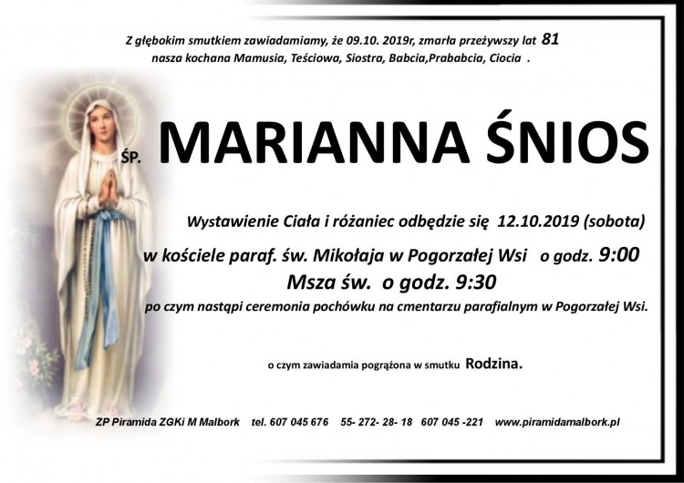 Zmarła Marianna Śnios. Żyła 81 lat.