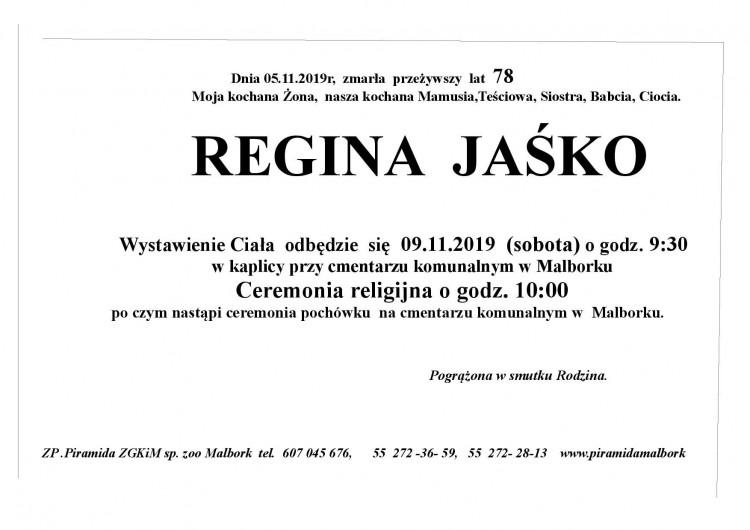 Zmarła Regina Jaśko. Żyła 78 lat.