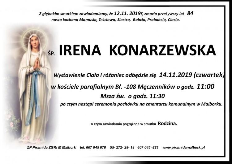 Zmarła Irena Konarzewska. Żyła 84 lata.