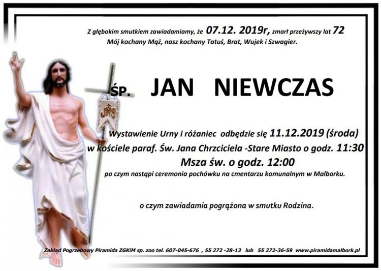 Zmarł Jan Niewczas. Żył 72 lata.