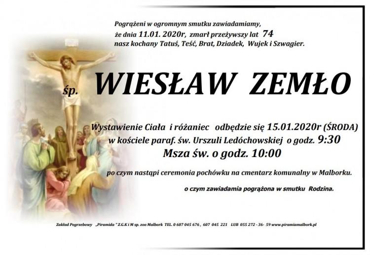 Zmarł Wiesław Zemło. Żył 74 lata.