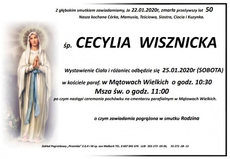Zmarła Cecylia Wisznicka. Żyła 50 lat.