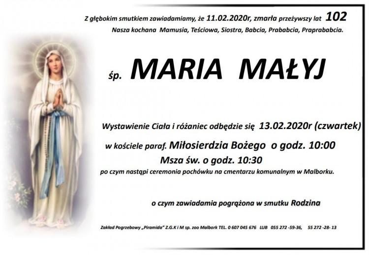 Zmarła Maria Małyj. Żyła 102 lata.