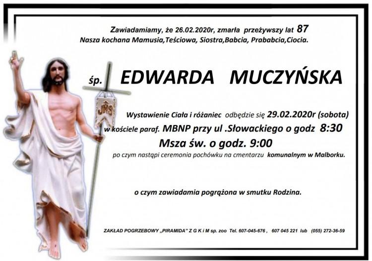 Zmarła Edwarda Muczyńska. Żyła 87 lat.