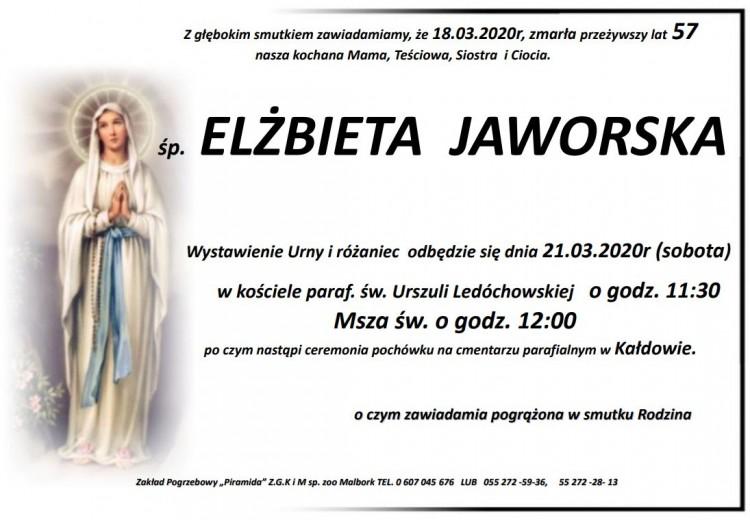 Zmarła Elżbieta Jaworska. Żyła 57 lat.