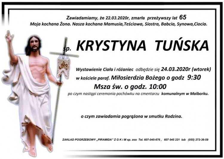 Zmarła Krystyna Tuńska. Żyła 65 lat.