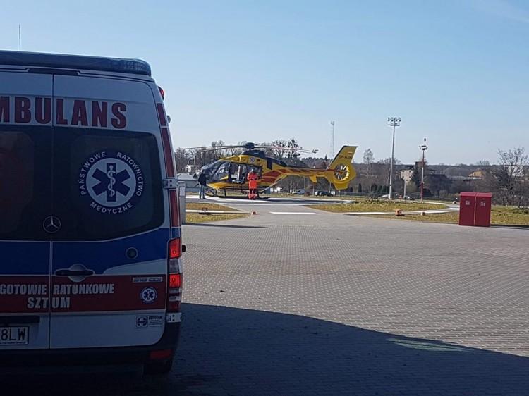 Wylądował pierwszy helikopter na lądowisku LPR przy szpitalu w Sztumie.