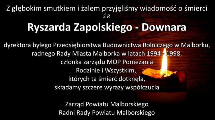 Zarząd Powiatu Malborskiego oraz Radni Rady Powiatu Malborskiego składają kondolencje.