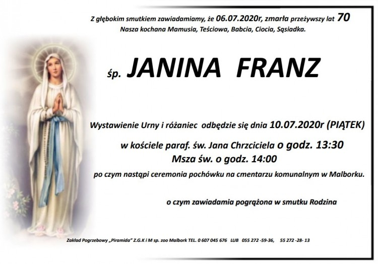 Zmarła Janina Franz. Żyła 70 lat.