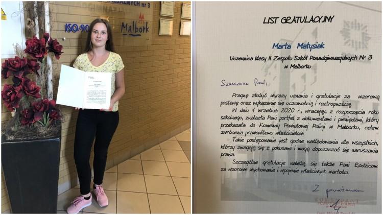 Zachowanie godne naśladowania – Marta Matysik z ZSP3 wyróżniona przez Komendanta Powiatowego Policji w Malborku.