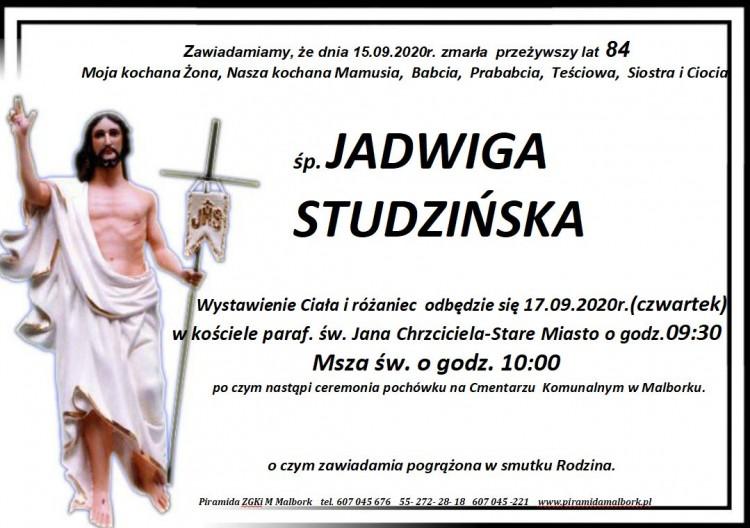 Zmarła Jadwiga Studzińska. Żyła 84 lata.