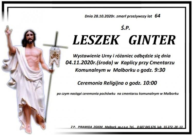 Zmarł Leszek Ginter. Żył 64 lata.