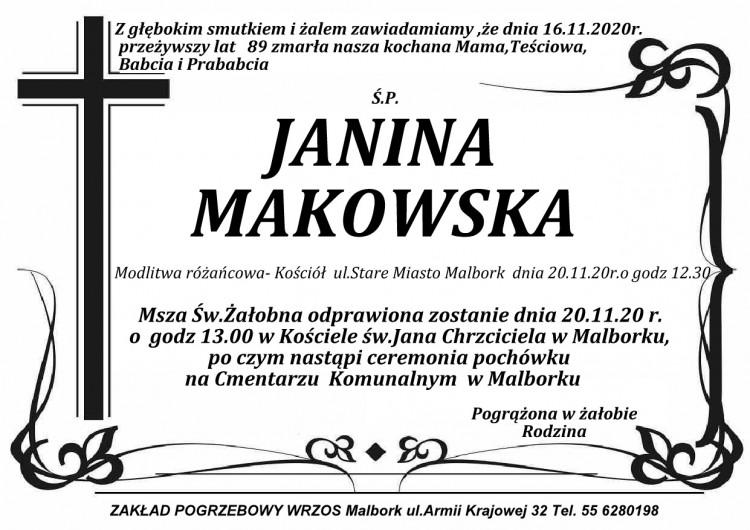 Zmarła Janina Makowska. Żyła 89 lat.