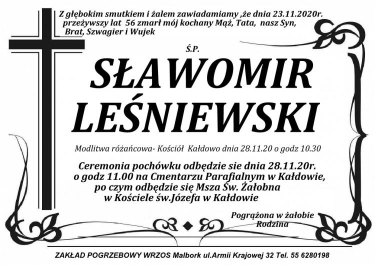 Zmarł Sławomir Leśniewski. Żył 56 lat.