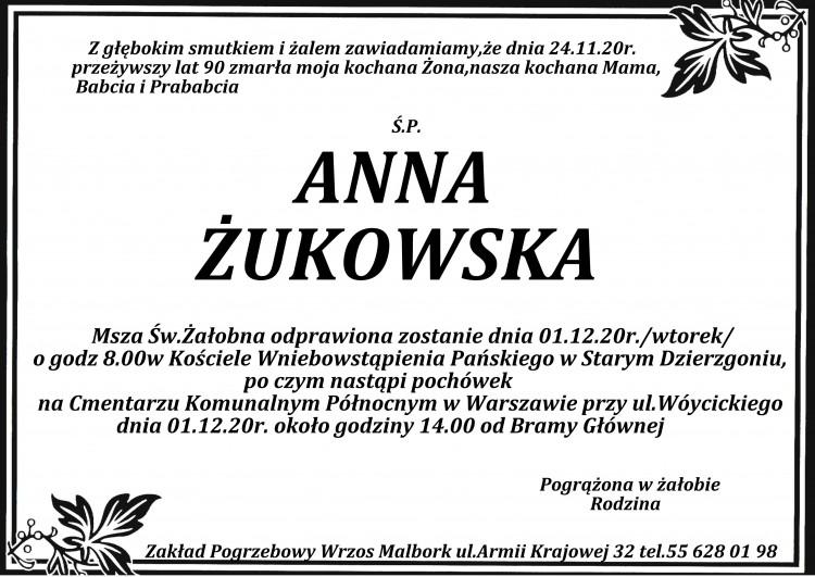 Zmarła Anna Żukowska. Żyła 90 lat.
