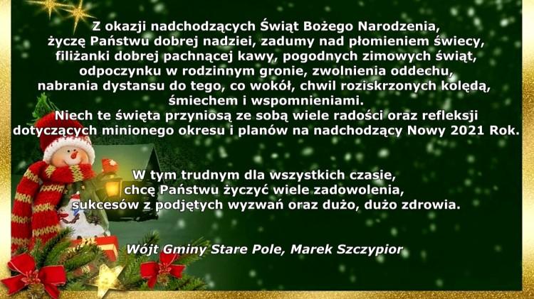 Wójt Gminy Stare Pole składa życzenia świąteczno-noworoczne.