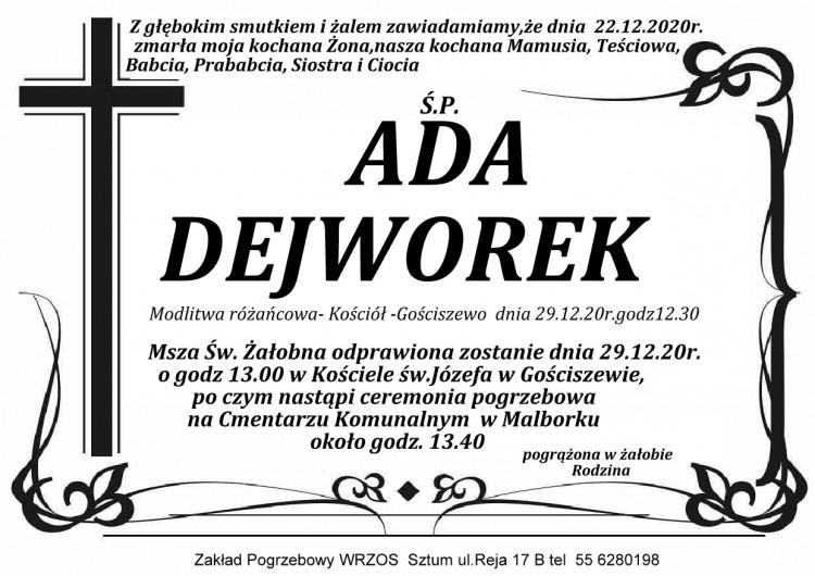 Zmarła Ada Dejworek.