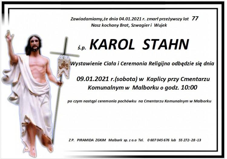 Zmarł Karol Stahn. Żył 77 lat.