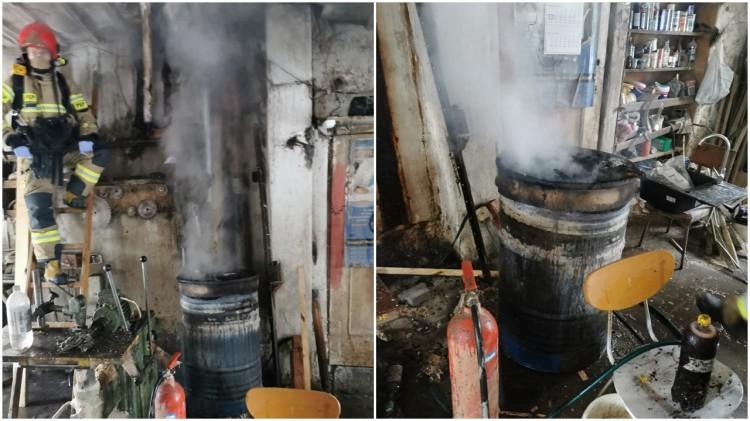 Nowy Staw. Pożar w zakładzie stolarskim.