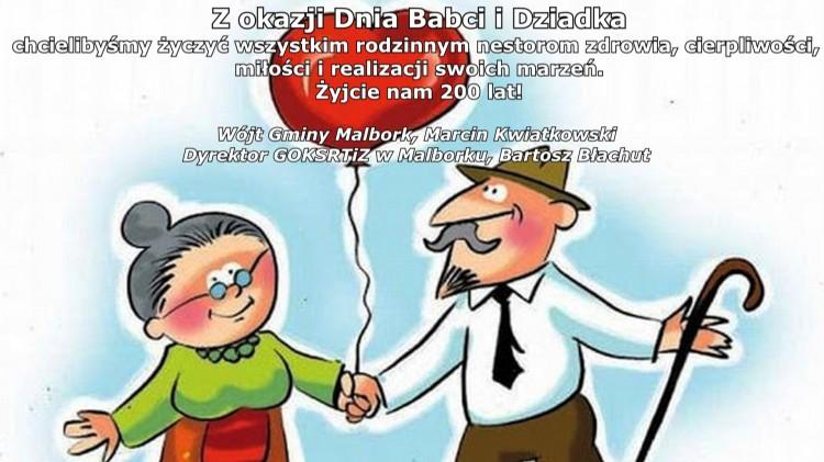 Życzenia z okazji Dnia Babci i Dziadka od włodarzy Gminy Malbork.