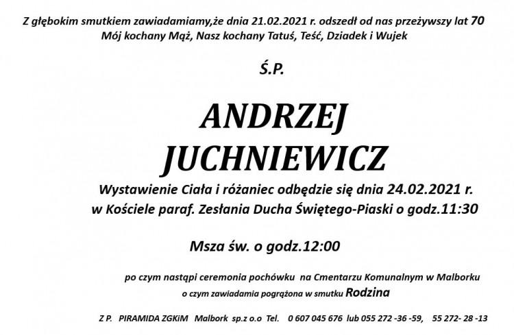 Zmarł Andrzej Juchniewicz. Żył 70 lat.