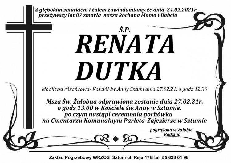 Zmarła Renata Dutka. Żyła 87 lat.