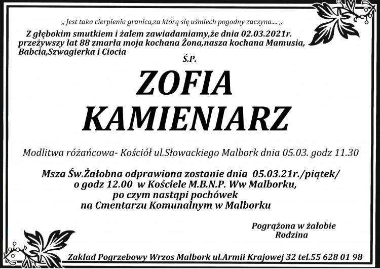 Zmarła Zofia Kamieniarz. Żyła 88 lat.