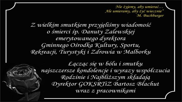 Kondolencje Dyrektora i pracowników GOKSRTiZ w Malborku.