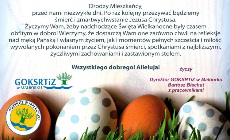 Świąteczne życzenia Dyrektora i pracowników GOKSRTiZ w Malborku.