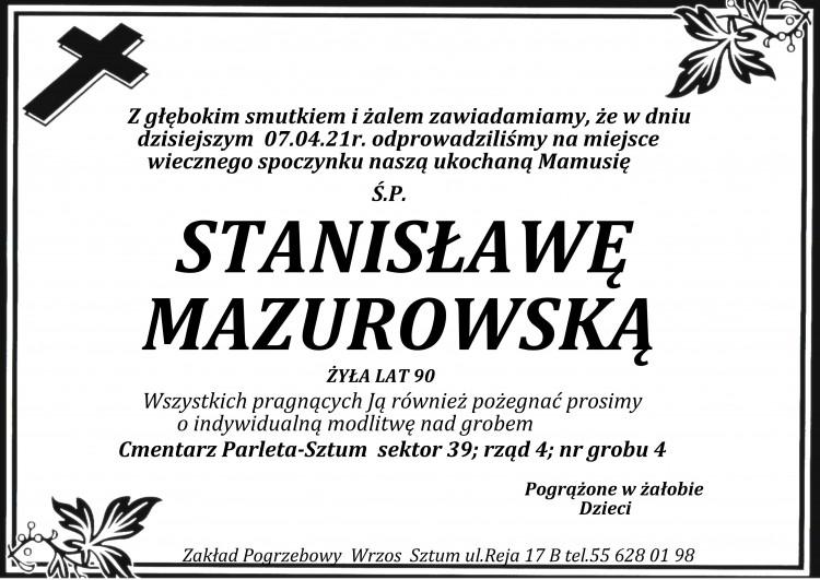 Zmarła Stanisława Mazurowska. Żyła 90 lat.