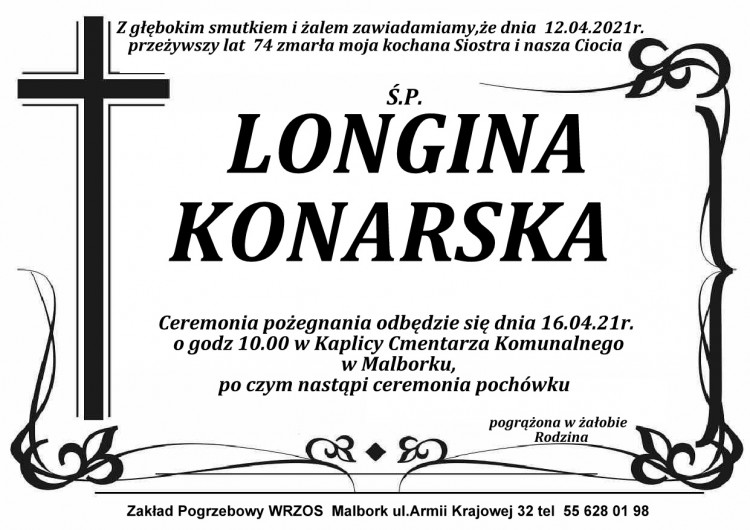Zmarła Longina Konarska. Żyła 74 lata.