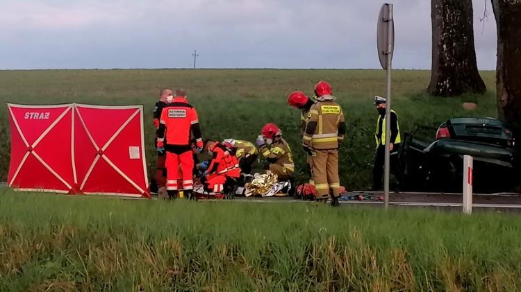 Nastoletni kierowca zabrany LPR po zderzeniu z drzewem – raport sztumskich służb mundurowych.