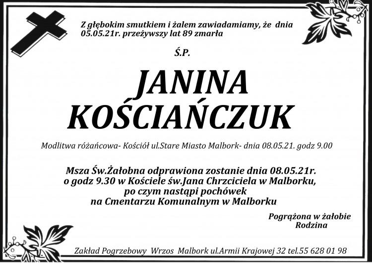 Zmarła Janina Kościańczuk. Żyła 89 lat.