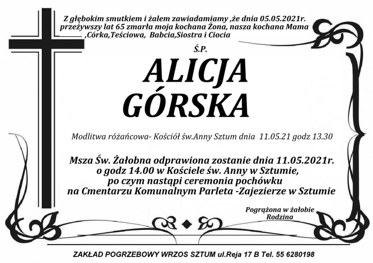 Zmarła Alicja Górska. Żyła 65 lat.